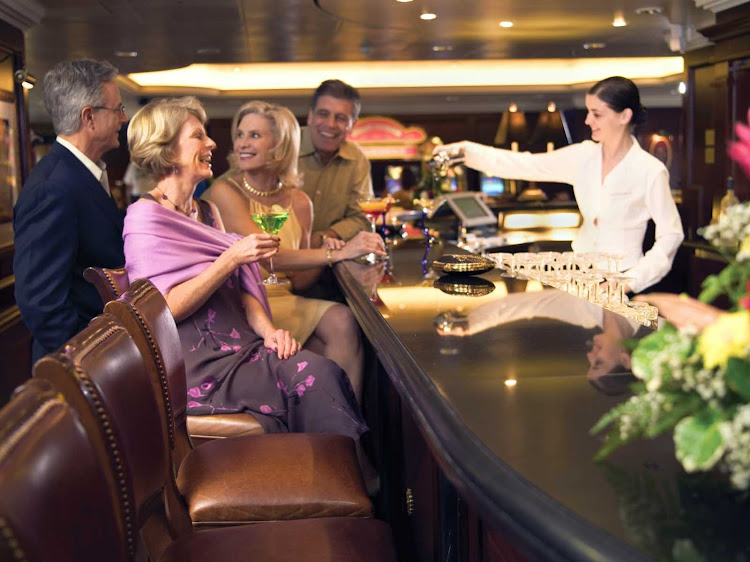Martinis bar on Oceania Nautica serves numerous incarnations of the famous cocktail in an elegant setting.