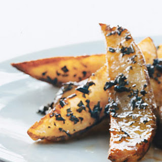Roasted Potato Wedges with Rosemary Butter.