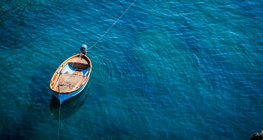 Standing Still by Marwa Ibrahim - Landscapes Waterscapes ( blue, sea, still, boat, alone,  )