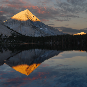 Arrow Peak Reflection in Bench Lake (Morning) by Cliff LaPlant - Landscapes Mountains & Hills