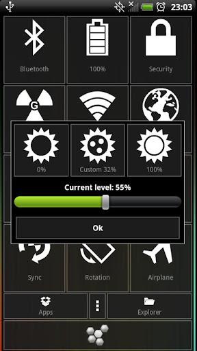 Esta aplicación te ayudará a resolver muchos de los problemas con la configuración y el control de su dispositivo Android. Gestión de Bluetooth, Wi-Fi, GPS, 2G, 3G, 4G gestión de vuelo Volviendo pantalla de control ajuste cómodo Gestione la Luz de fondo de control y fuera de la pantalla Visualización de información sobre carga de la batería Establecer la clave gráfico Aplicaciones de instalación rápida SDCard Construir en App Installer Aplicaciones a la exportación de la tarjeta SD Eliminación rápida y el inicio de aplicaciones Aplicaciones