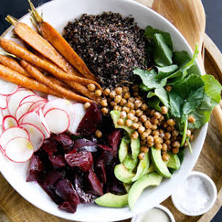 Root Vegetable & Quinoa Salad with Tahini-Maple Vinaigrette.