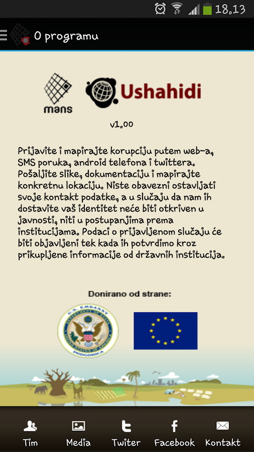 Prijavi korupciju- screenshot