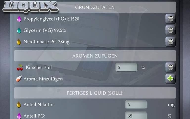 android LIQUIX Liquidrechner & Manager Screenshot 6