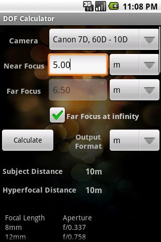 DOF Calculator - screenshot
