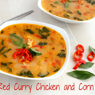 Thai Red Curry Chicken and Corn Soup.