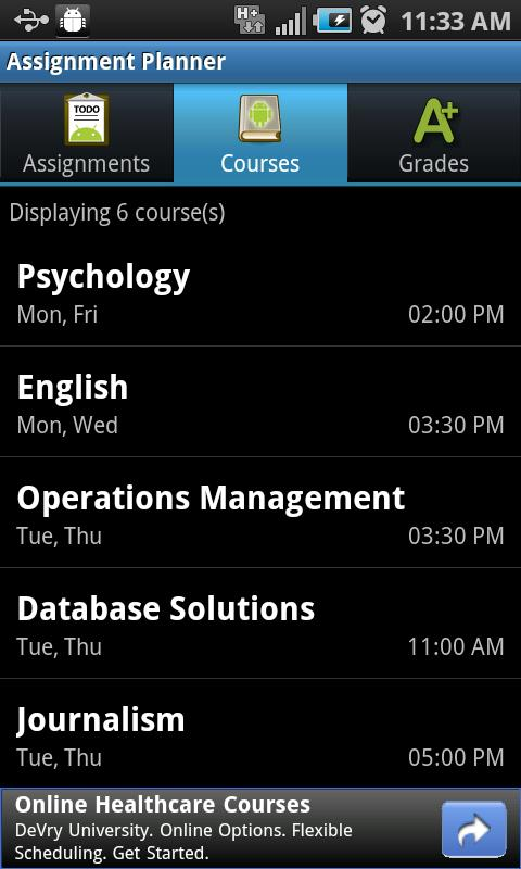Assignment Planner FREE- screenshot