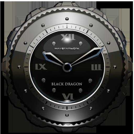 Dragon Clock Widget black