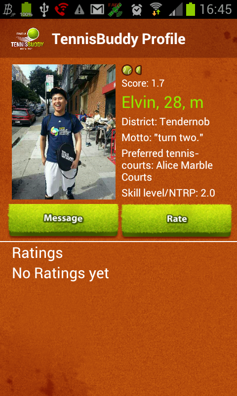 Tennis Buddy app Find partners - screenshot