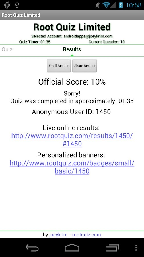 Root Quiz - Limited- screenshot