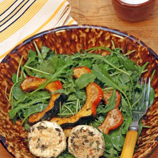 Roasted Acorn Squash Salad with Warm Goat Cheese Rounds.
