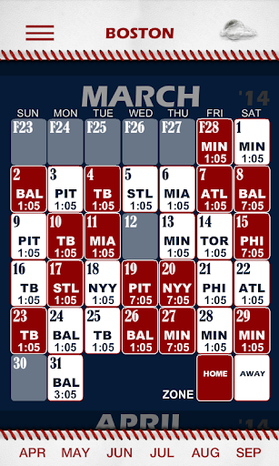 Baseball Pocket Sked - Red Sox