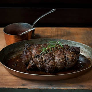 Porcini and Rosemary Crusted Beef Tenderloin with Port Wine Sauce.