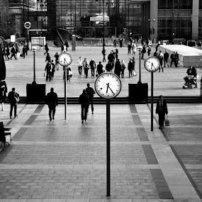 stopping the time  by Jarka Vojtaššáková - City,  Street & Park  Street Scenes ( london, street, clocks, black&white, city )