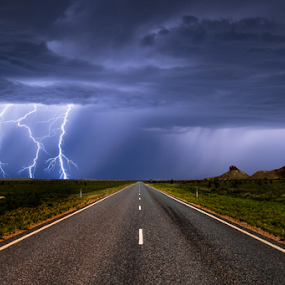 Pilbara Storms by Steve Brooks - Landscapes Weather ( lightning, weather, road, storms, port hedland )
