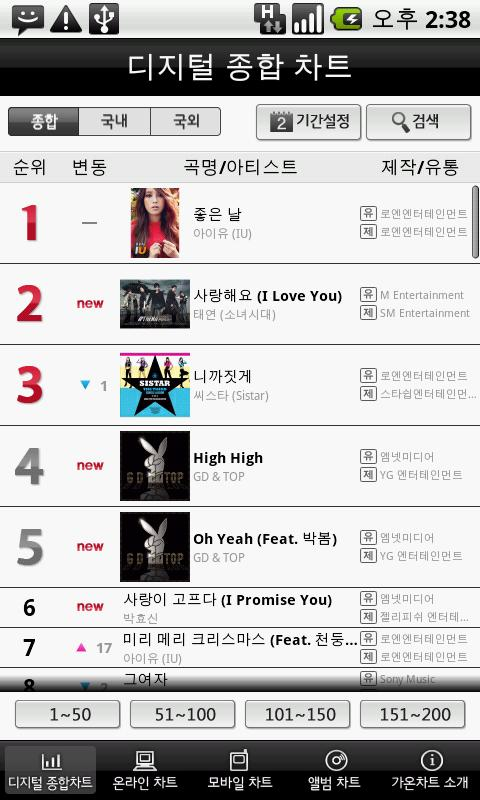 gaon chart - screenshot