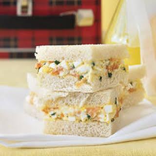 Smoked Salmon and Egg Salad Tea Sandwiches.