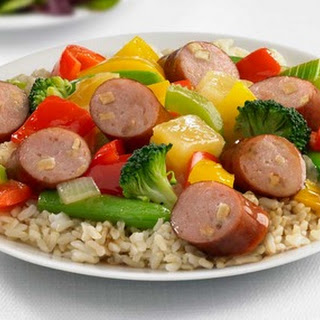 Johnsonville Apple Chicken Sausage Sweet and Sour Stir Fry.