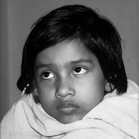 Babies by Debraj Gupta - Babies & Children Child Portraits ( b/w baby, babies, children, child portrait, black and white, b&w, child, portrait )