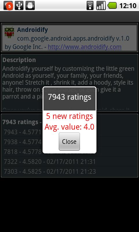 App Ratings - Android Stats- screenshot