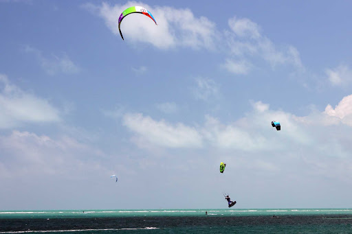 Parasailers in Crandon Park, Miami.