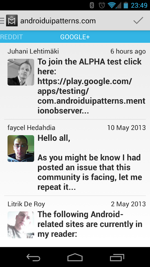 Mentions - screenshot