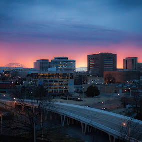 Memphis Sunset by Mary Phelps - City,  Street & Park  Skylines ( memphis, sky, sunset, tennessee, downtown, city, , Urban, City, Lifestyle, city at night, street at night, park at night, nightlife, night life, nighttime in the city )