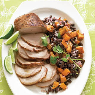 Roasted Pork Loin with Black-Bean and Sweet-Potato Salad.