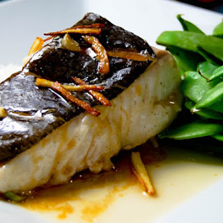 Steamed Halibut with Fried Ginger.