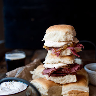Slow Cooker Beer Brisket Sandwiches with Horseradish Sour Cream.