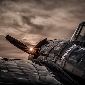 Rising Sun by Mark Theriot - Transportation Airplanes ( wildcat, 2014, airplane, oshkosh, dark, moody, sunrise, sun )
