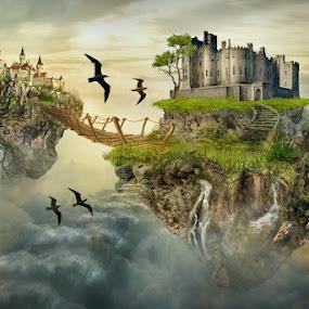 Islands in the clouds by Angelica Glen - Digital Art Places ( clouds, art, castles, bridge, digital, birds, island,  )