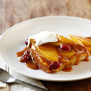 Caramel Pear and Cranberry Pudding Cake.