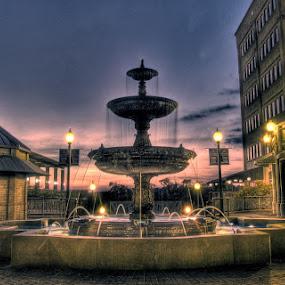 Klamen Plaza by John Smith - City,  Street & Park  Fountains ( hdr, sunset, fountain, klamen )