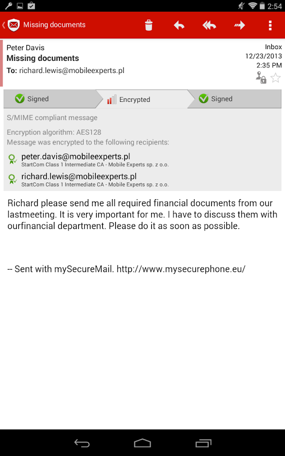my Secure Exchange ActiveSync - screenshot