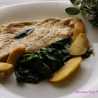 Turkey Steaks in Sage Butter and Spinach Sauteed with Apple.