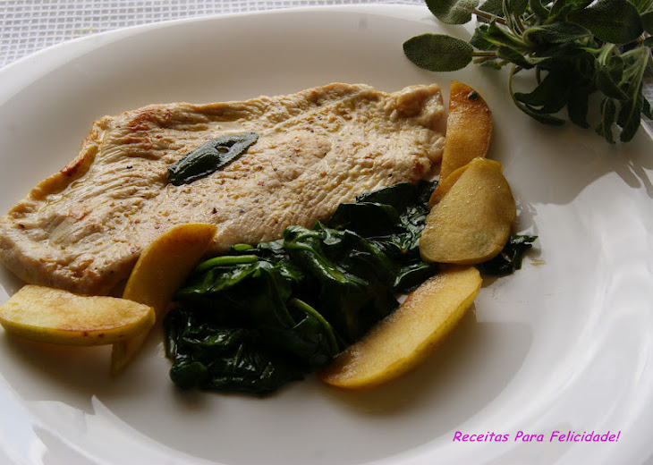 Turkey Steaks in Sage Butter and Spinach Sauteed with Apple Recipe