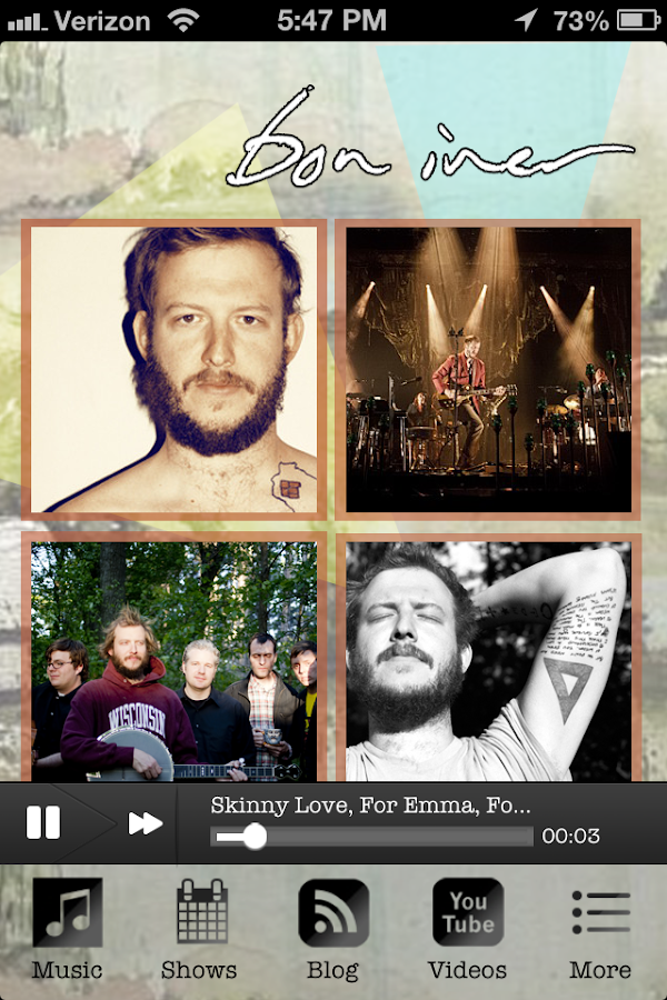 Bon Iver Fan App - screenshot