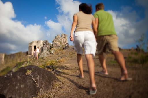 hilltop-ruins-St-Maarten - Visitors explore hilltop ruins on St. Maarten.