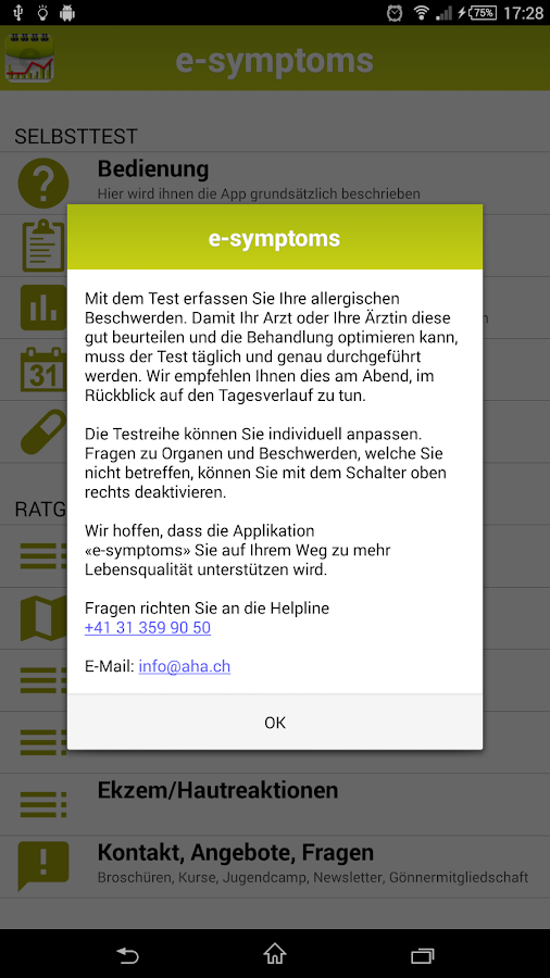e-symptoms - screenshot
