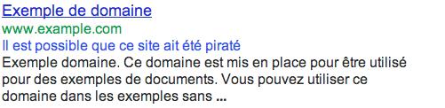 avertissement de site piraté