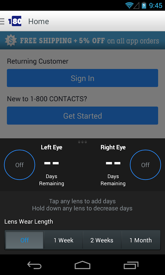 1800CONTACTS App - screenshot