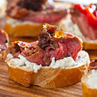 Flank Steak with Goat Cheese on Toast.