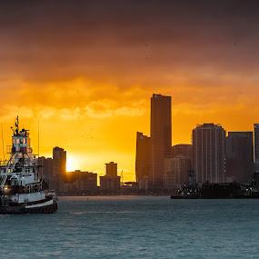 Miami Port by Jean Perrin - Transportation Boats ( port, sunset, miami, ocean, boat )