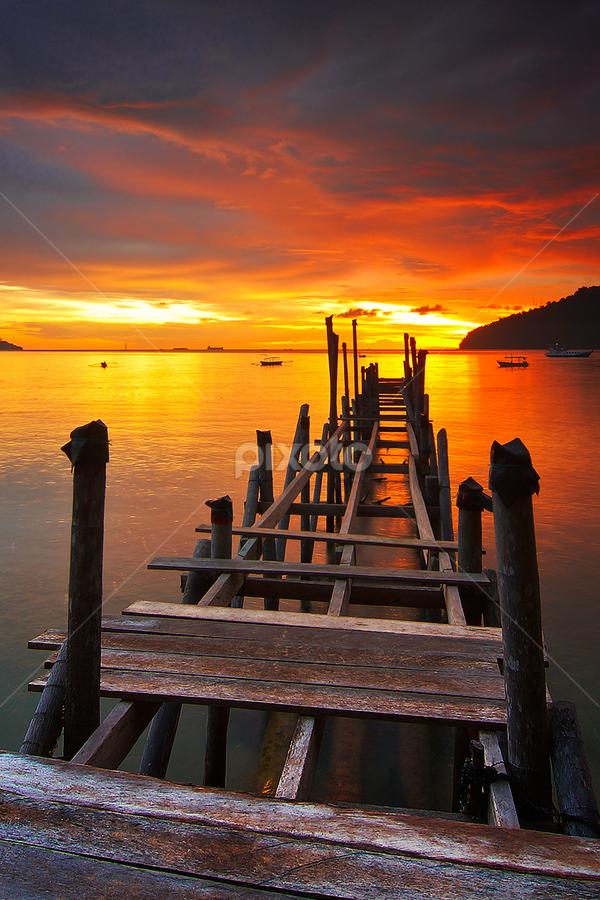 Bridge to the Fire by Ade Noverzan - Buildings & Architecture Bridges & Suspended Structures ( bay, padang, sunset, twilight, bridge, dusk )