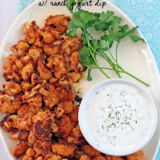 Buffalo Cauliflower with Ranch Yogurt Dip.
