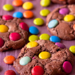 Chewy Chocolate Smartie Cookies.