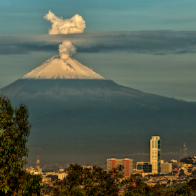 Puebla city by Cristobal Garciaferro Rubio - City,  Street & Park  Vistas ( volcano, popo, mexico, puebla, popocatepetl, smoking volcano )