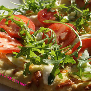 Tomato and Wild Arugula Rustic Pizza.
