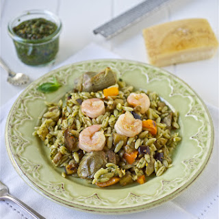 Orzo with Pesto, Shrimp, Eggplant and Artichokes